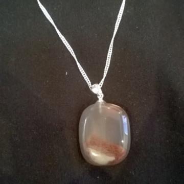 colar de prata pedra ágata natural