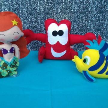 Personagens Ariel em feltro - 3 Personagens