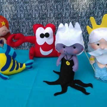 Personagens Ariel em feltro - 5 Personagens