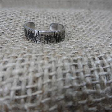 Anel Prata 950 Maciço, Acabto. Forjado, Texturizado, Black