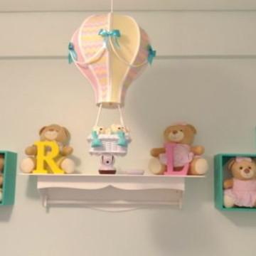 Luminária balão quarto dos gêmeos Larissa e Rafael