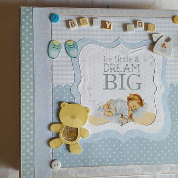 Álbum de fotos scrapbook bebê menino