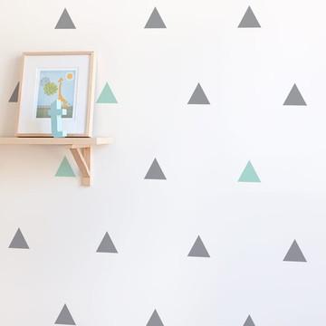 Adesivo triângulo verde água e cinza