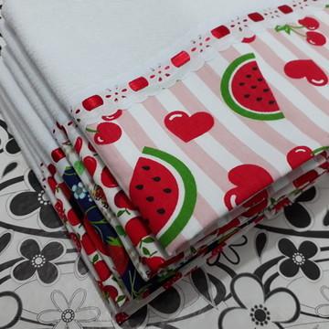 Panos de Prato Frutas Kit com 10 unidades sortidas