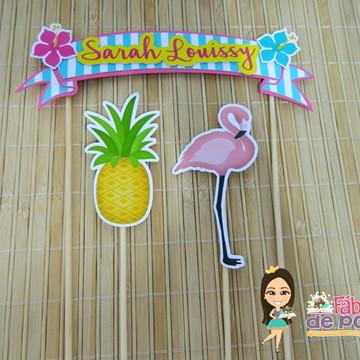 Bandeirola Bolo Flamingo
