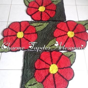 Jogo de tapetes para cozinha flor vermelha