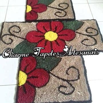 Flores vermelhas tapetes para decoração da cozinha frufru