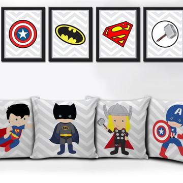 Kit Decorativo Heróis 4 Quadros e 4 Almofadas