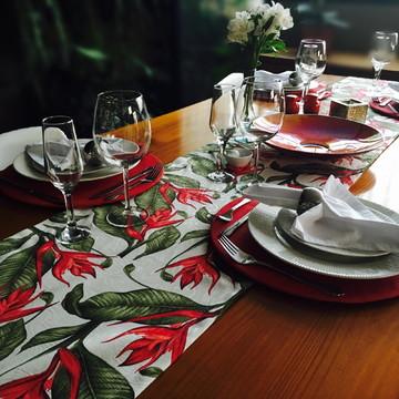 Kit de Mesa Jacquard Floral Vermelho 2