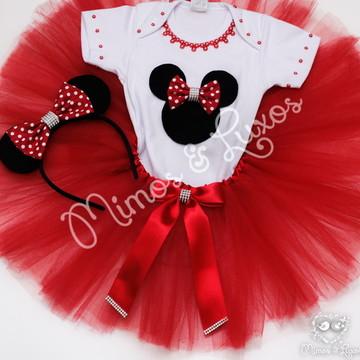 Conjunto Minnie Vermelha ou Rosa