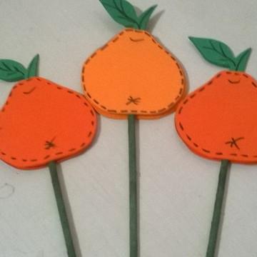 Frutas Decorativas de EVA no Palito - Tangerina