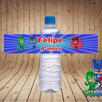 rótulo para água pj masks