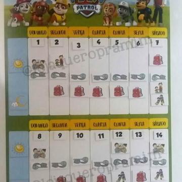 Calendário de rotina semanal personalizado em imã