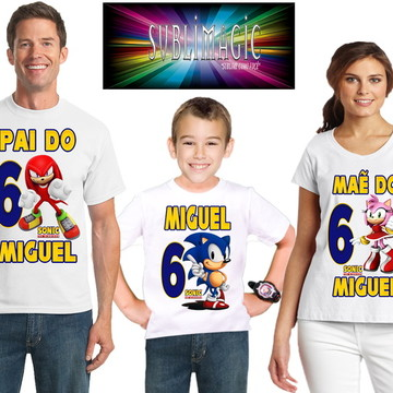 Kit 3 Camisetas Sonic
