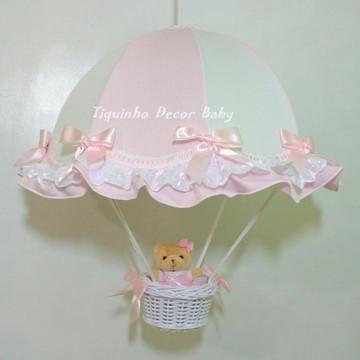 lustre paraquedas pendente infantil rosa