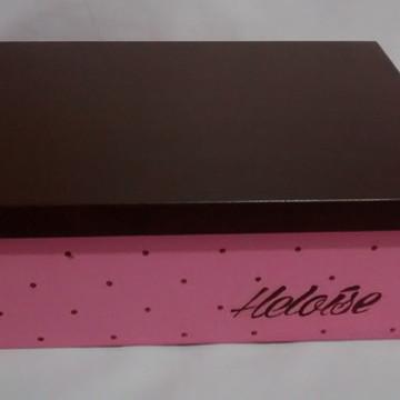 Caixa Organizadora Rosa e Marrom Personalizada com Nome