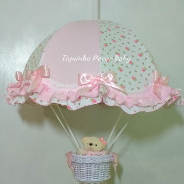 lustre paraquedas pendente infantil floral