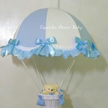 lustre paraquedas pendente infantil azul urso