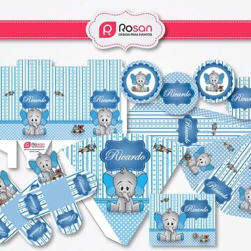 Kit Digital Chá de bebê/fraldas menino