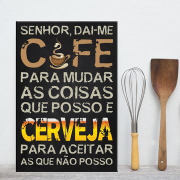 Placa Decorativa MDF Cozinha Café e Cerveja 30x40cm