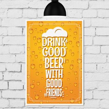 Placa Decorativa MDF Cozinha Cerveja com Amigos 30x40cm