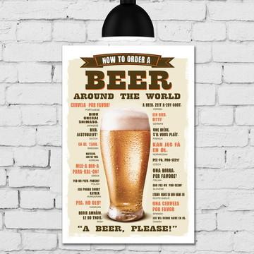 Placa Decorativa MDF Cozinha Como Pedir Cerveja 30x40cm