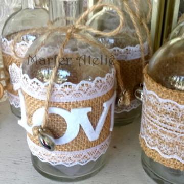 Garrafinhas de Vidro p Decoração Casamento rústico