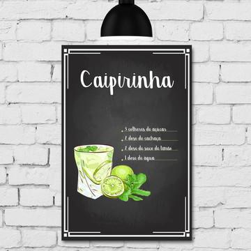 Placa Decorativa MDF Cozinha Drink Caipirinha 30x40cm