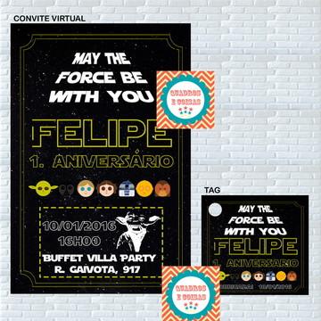 Convite e tag para festa de aniversário
