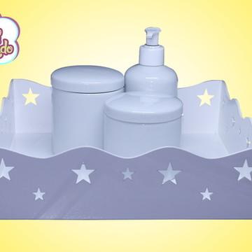 Kit higiene porcelana com bandeja estrelinha