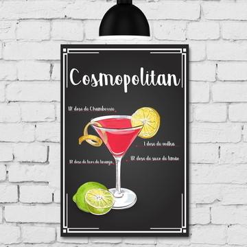 Placa Decorativa MDF Cozinha Drink Cosmopolitan 30x40cm