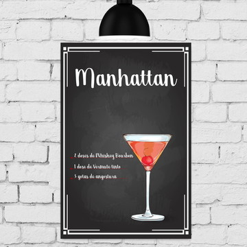 Placa Decorativa MDF Cozinha Drink Manhattan 30x40cm