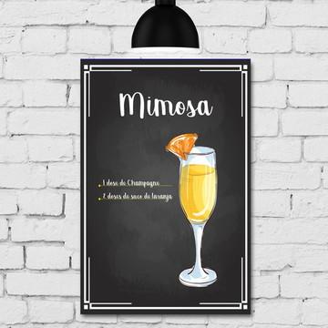 Placa Decorativa MDF Cozinha Drink Mimosa 30x40cm