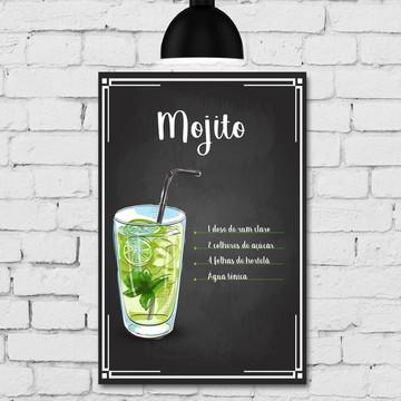 Placa Decorativa MDF Cozinha Drink Mojito 30x40cm