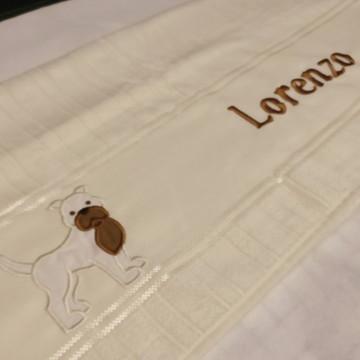 Toalha Bordada Pitbull Cachorro personalizada
