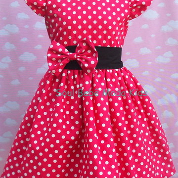 Vestido Infantil Festa Minnie Rosa Pink