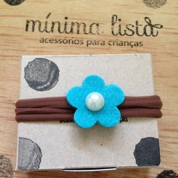 Faixa - flor de feltro azul