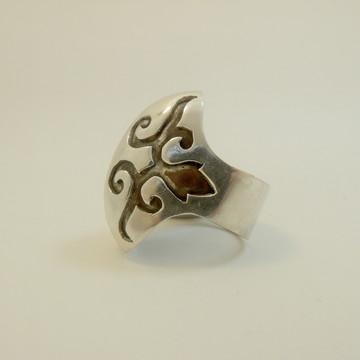 Anel de prata com detalhe em cobre