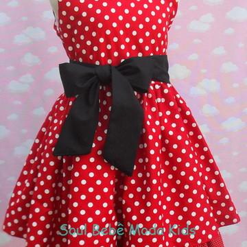 Vestido infantil Festa Minnie Vermelho