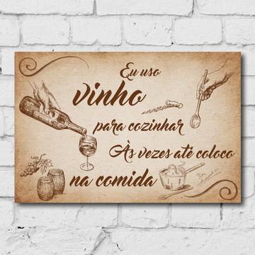 Placa Decorativa MDF Vinho Cozinha Giz 30x40cm