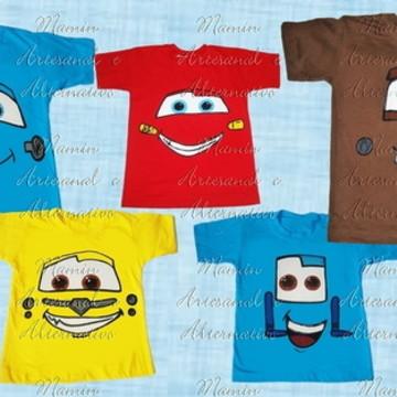 Kit 5 camisetas Carros e amigos