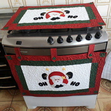 Cortina de natal para forno e toalha para fogão!!!
