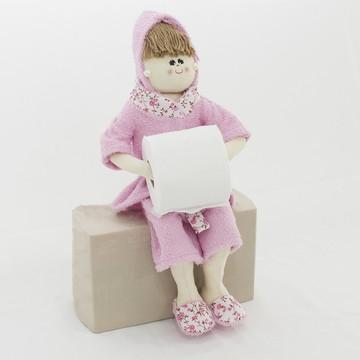 Boneca Porta Papel Higiênico ou Toalha - Rosa