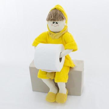 Boneca Porta Papel Higiênico ou Toalha - Amarela
