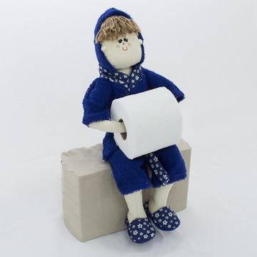Boneca Porta Papel Higiênico ou Toalha - Azul