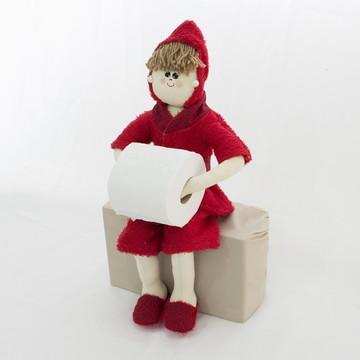 Boneca Porta Papel Higiênico ou Toalha -Cor Vermelha