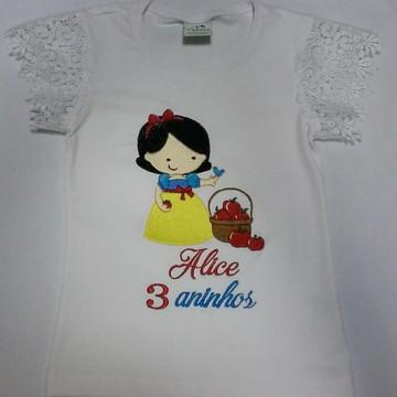 Blusinha Personalizada Branca de Neve