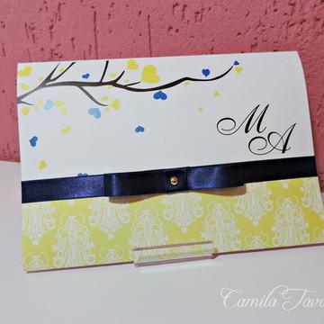 Convite de Casamento - Amarelo/Azul M