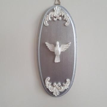 Divino em mdf oval prata com duas cantoneiras brancas