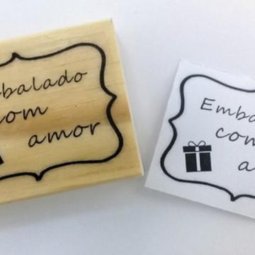"Carimbo "" Embalado com amor"""